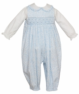 Anavini Baby Girls Blue / White Floral Smocked Romper with Blouse