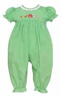 Anavini Baby Girls Green Check Farm Animals Romper