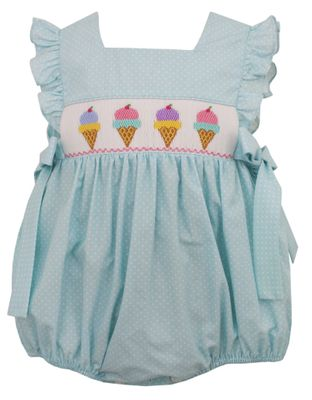 Anavini Baby Girls Mint / White Dots Smocked Ice Cream Bubble - Bows at Sides