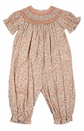 Anavini Baby Girls Orange Liberty Fall Floral Smocked Long Romper