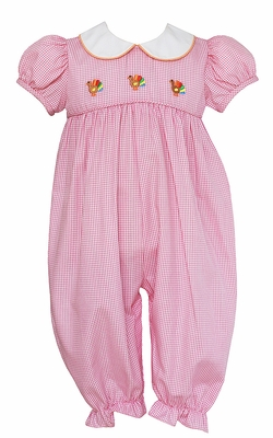 Anavini Baby Girls Pink Check Embroidery Turkeys Romper