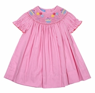 Anavini Baby Girls Pink Check Smocked Birthday Cupcake & Balloons Dress