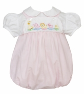 Anavini Baby Girls Pink Seersucker Shadow Stitch Embroidery Toy Animal Parade Bubble with Blouse