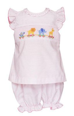 Anavini Baby Girls Pink Stripe Bloomers Set - Smocked Toy Animals Parade