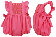 Anavini Baby Girls Raspberry Pink Smocked Pinafore Bubble with Side Bows
