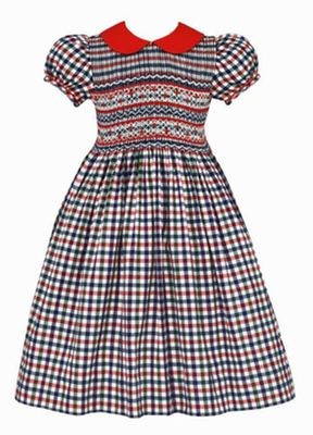 Anavini Baby Girls Red / Navy Blue Plaid Smocked Dress - Red Collar