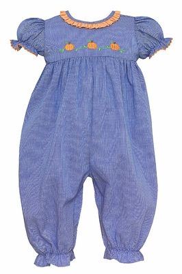 Anavini Baby Girls Royal Blue Check Embroidered Pumpkins Romper