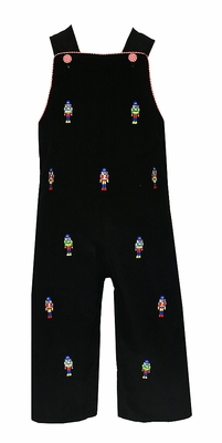 Anavini Baby / Toddler Boys Black Corduroy Longall with Embroidered Nutcracker Soldiers