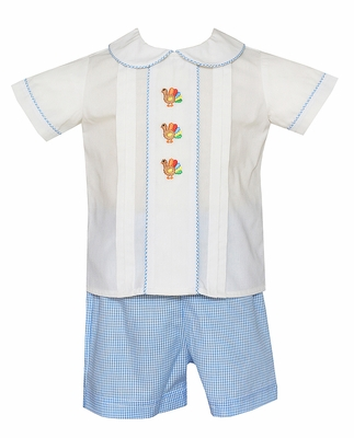 Anavini Baby / Toddler Boys Blue Check Embroidered Turkeys Shorts Set