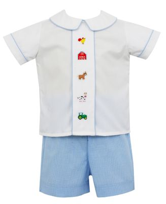 Anavini Baby / Toddler Boys Blue Check Embroidery Farm Short Set