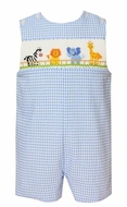 Anavini Baby / Toddler Boys Blue Check Seersucker Smocked Safari Zoo Animals Jon Jon