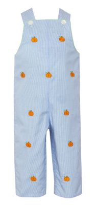 Anavini Baby / Toddler Boys Blue Check Longall - Embroidered Orange Pumpkins - Reverses to Green Check Car