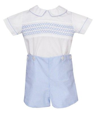 Anavini Baby / Toddler Boys Blue Check Smocked Button On Outfit