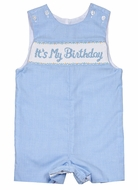 "Anavini Baby / Toddler Boys Blue Check Smocked ""It's My Birthday"" Jon Jon"
