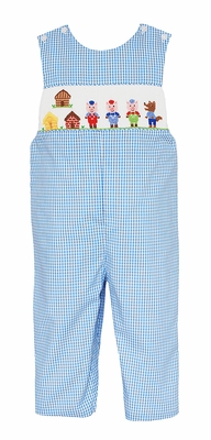 Anavini Baby / Toddler Boys Blue Check Smocked Three Little Pigs Longall
