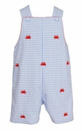 Anavini Baby / Toddler Boys Blue Gingham Seersucker Embroidered Crabs Shortall