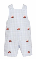 Anavini Baby / Toddler Boys Blue Gingham Seersucker Embroidered Golf Carts Shortall