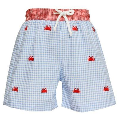 Anavini Baby / Toddler Boys Blue Gingham Seersucker Swim Trunks - Embroidered Crabs