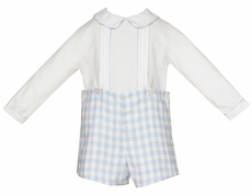 Anavini Baby / Toddler Boys Blue / Gray Plaid Button On Shorts Set