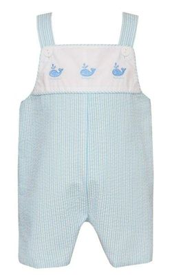 Anavini Baby / Toddler Boys Blue / Green Stripe Whales Overall