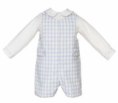 Anavini Baby / Toddler Boys Blue / Grey Plaid Jon Jon with Piped Shirt