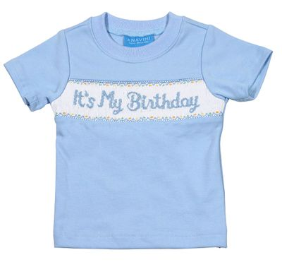 Anavini Baby Toddler Boys Blue Smocked Its My Birthday Shirt