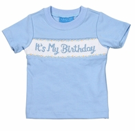 "Anavini Baby / Toddler Boys Blue Smocked ""It's My Birthday"" Shirt"