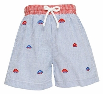 Anavini Baby / Toddler Boys Blue Stripe Seersucker Swim Trunks - Embroidered Cars