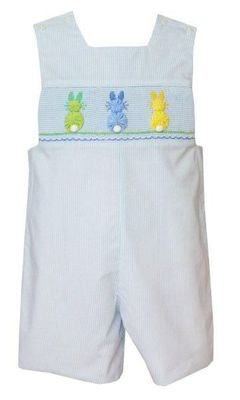 Anavini Baby / Toddler Boys Blue Stripe Smocked Cottontails Easter Bunny Peeps Jon Jon