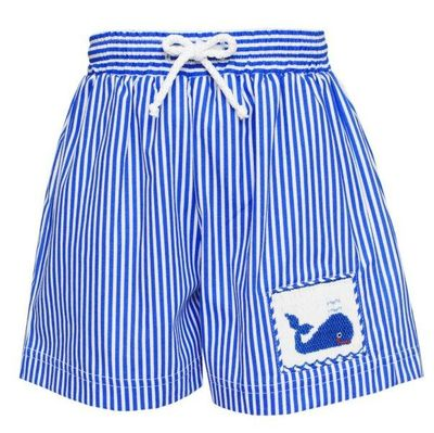 Anavini Baby / Toddler Boys Blue Stripe Swim Trunks - Smocked Whale