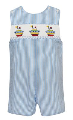 Anavini Baby / Toddler Boys Blue Stripe Smocked Tugboats Jon Jon