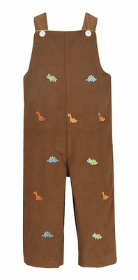 Anavini Baby / Toddler Boys Brown Corduroy Embroidered Orange Dinosaurs Longall - Reverses to Green Check