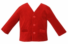 Anavini Boys Eton Style Jacket - Red Velvet