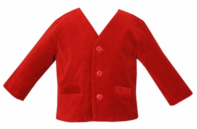 Anavini Baby / Toddler Boys Eton Style Jacket - Red Velvet
