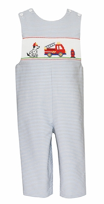 Anavini Baby / Toddler Boys Gray Check Smocked Firetruck / Dalmatian Dog Longall