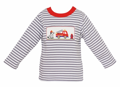 Anavini Baby / Toddler Boys Gray Striped Knit Shirt - Smocked Dalmatian and Firetruck
