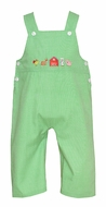Anavini Baby / Toddler Boys Green Check Farm Animals Overall