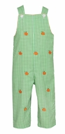 Anavini Baby / Toddler Boys Green Gingham Embroidered Orange Pumpkins Longall - Reverses to Orange Gingham