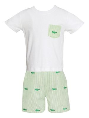 Anavini Baby / Toddler Boys Green Stripe Seersucker Shorts - Embroidered Alligators - Shirt with Pocket