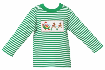 Anavini Baby / Toddler Boys Green Striped Knit Smocked Santa Sleigh Shirt