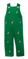 Anavini Baby / Toddler Boys Kelly Green Corduroy Longall with Embroidered Reindeer - Reverses to Red Check with Santa