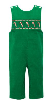 Anavini Baby / Toddler Boys Kelly Green Corduroy Smocked Candy Canes Longall