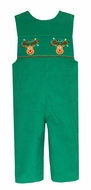 Anavini Baby / Toddler Boys Kelly Green Corduroy Smocked Christmas Reindeer Longall