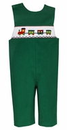 Anavini Baby / Toddler Boys Kelly Green Corduroy Smocked Christmas Train Longall