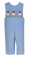 Anavini Baby / Toddler Boys Light Blue Corduroy Smocked Santa Claus Longall