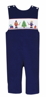 Anavini Baby / Toddler Boys Navy Blue Corduroy Smocked Nutcrackers Longall