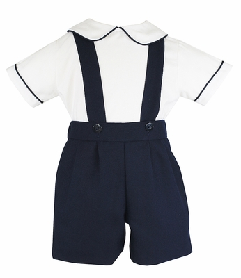 Anavini Baby / Toddler Boys Navy Blue Suspender Shorts Set with Shirt