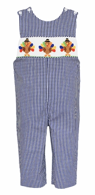 Anavini Baby / Toddler Boys Navy Gingham Smocked Thanksgiving Turkeys Longall