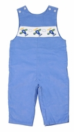 Anavini Baby / Toddler Boys Periwinkle Blue Corduroy Smocked Airplanes Longall
