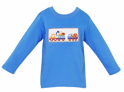 Anavini Baby / Toddler Boys Periwinkle Blue Knit Shirt - Smocked Construction Trucks